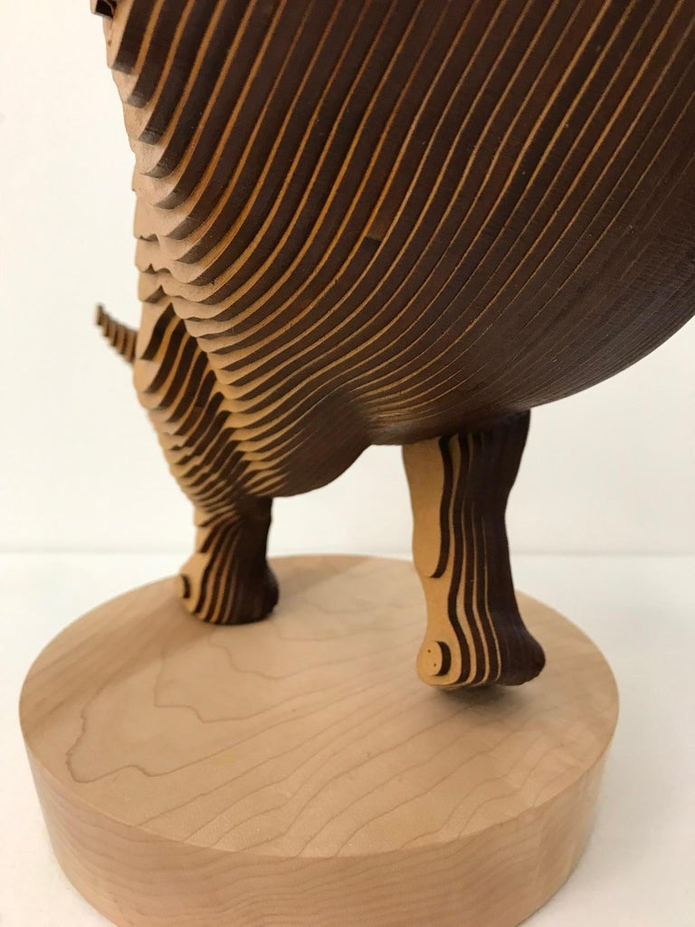 Ballerhino..Contemporary whimsical animal sculpture, wood slices, dancing rhino For Sale 6