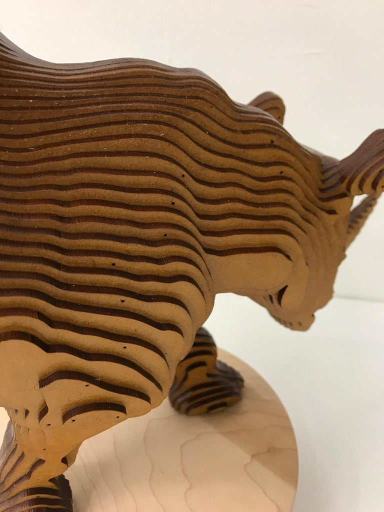 Ballerhino..Contemporary whimsical animal sculpture, wood slices, dancing rhino For Sale 10