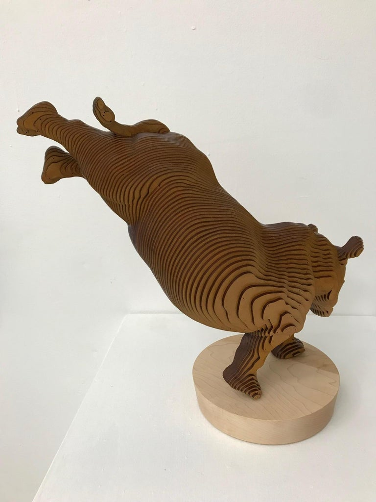 Ballerhino..Contemporary whimsical animal sculpture, wood slices, dancing rhino For Sale 11