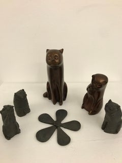 Kitty Gang : Contemporary, 6 small piece bronze sculpture with patina, cute cats