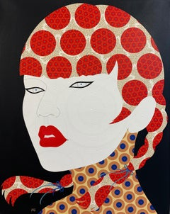 Azumi - Contemporary, woman portrait, acrylic, dot, pop art, red, black, brown