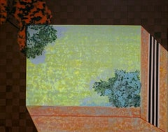 Gegenüber abstract brown painting with nature and architecture acrylic on linen