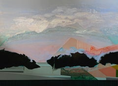Creep On...abstract painting with nature and architecture acrylic on linen
