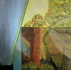 Yellow October..abstract painting with nature and architecture acrylic on linen