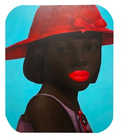 Lady and a Red Brimmed Hat - woman portrait bold red lips oil painting on linen