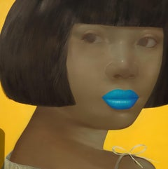 Blue Lipped Lady - woman portrait yellow and blue oil painting on linen