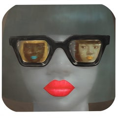 Admiring the Other Lady - woman portrait with sunglasses oil painting on linen
