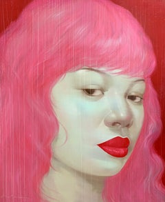 Lady with Pink Hair - Asian woman portrait red bold lips oil painting on canvas