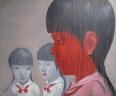 School Girls - Asian faces large scaled oil on canvas painting red and grey