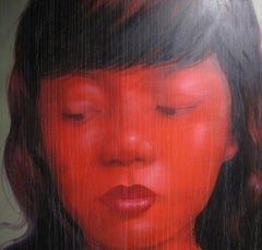 Lady with Black Hair - Asian face large scaled oil on canvas red painting