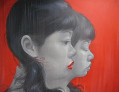Young Ladies - Asian faces large scaled oil on canvas painting red and grey