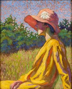 The Red Cloche, Portrait by Grace Cochrane Sanger (1885-1966, American)