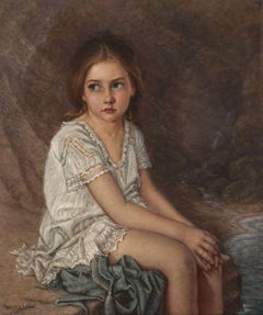 19th-century Portrait of a Girl by Walter Cox (1867-1930)