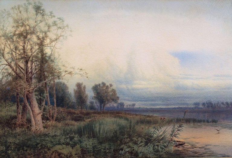 WILLIAM HART (1823–1894) Montezuma Marsh, 1872 Watercolor on paper 20 ¼ x 30 inches Signed and dated 1872  An esteemed and significant second-generation Hudson River School painter, William Hart is primarily known for his finely detailed, bucolic