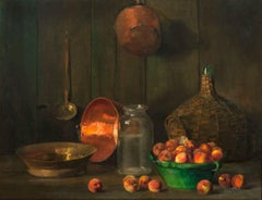 Still Life with Peaches and Cookware by Frank B. A. Linton (1871-1943, American)