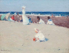 On the Beach, Impressionist Painting by Hobart Nichols, Jr. (1869-1962,American)