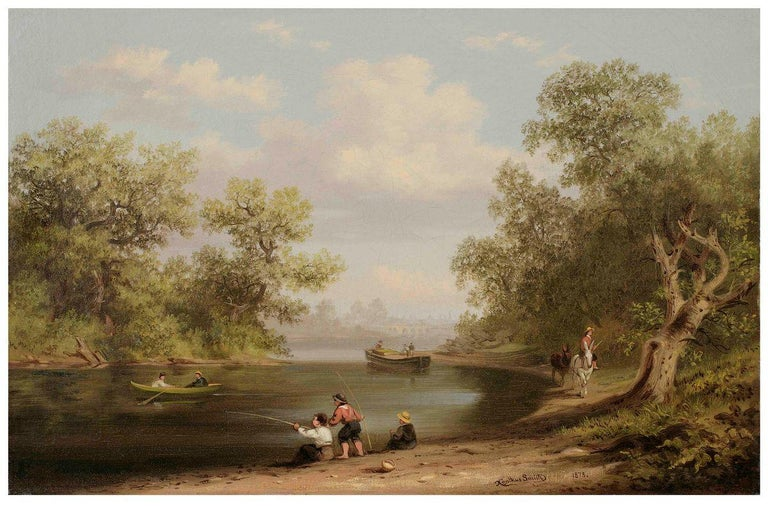 Xanthus Smith (1839-1929) Fishing Scene in Pennsylvania, 1878 Oil on paper mounted on canvas 10 x 15 inches Signed and dated 1878, lower right  Although he began his artistic career painting landscapes, Xanthus Smith established himself as