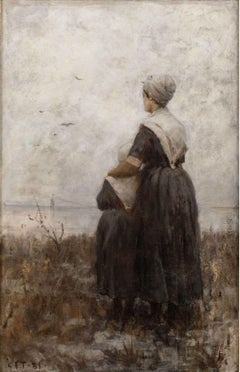 Saying Goodbye, Genre Scene by Charles Yardley Turner (1850-1919, American)