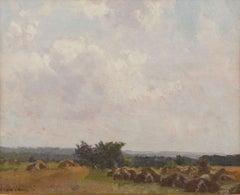 Haystacks, Impressionist Landscape by Robert Vonnoh (1858-1933, American)