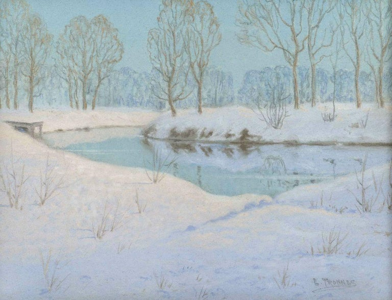Elling Tronnes (1870-1965) North Branch, Chicago River Pastel on paper 9 x 12 inches (sight) Signed lower right Exhibition label with title, verso  Elling Tronnes was born in Norway in 1870 and emigrated to the United States in 1893, settling