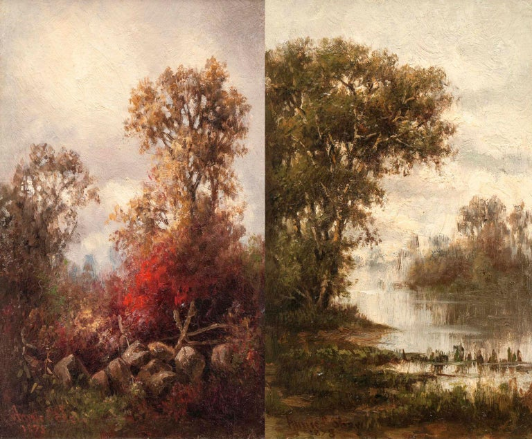 Annie Cornelia Shaw (1852-1887) Autumn, 1878 Oil on panel 9 x 5 3/4 inches Signed and dated 1878, lower left  And  Annie Cornelia Shaw (1852-1887) Summer, 1878 Oil on panel 9 x 5 3/4 inches Signed and dated 1878, lower left  Pair of Hudson River