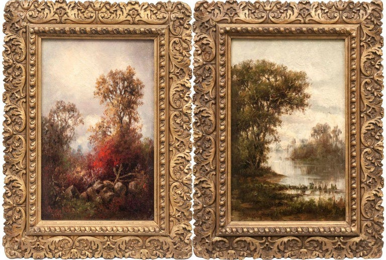 Pair of Hudson River Landscapes by Annie Cornelia Shaw (1852-1887, American) For Sale 1