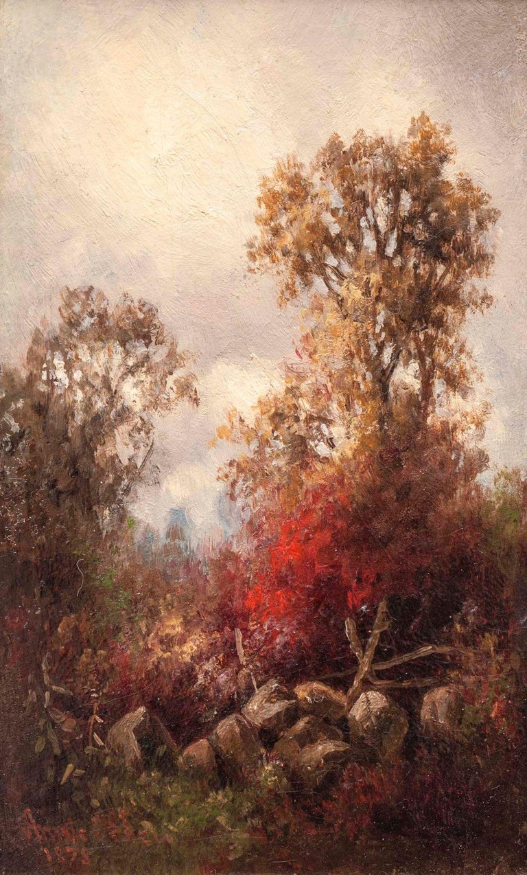 Pair of Hudson River Landscapes by Annie Cornelia Shaw (1852-1887, American) For Sale 2