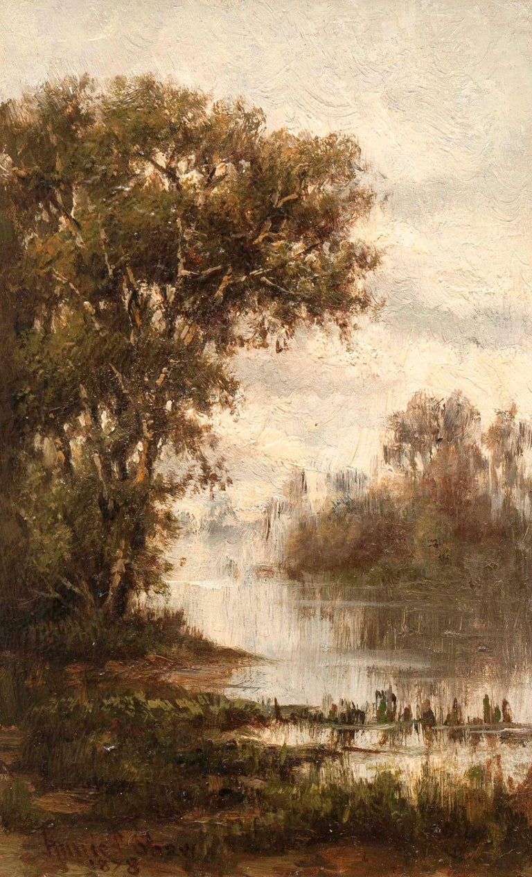 Pair of Hudson River Landscapes by Annie Cornelia Shaw (1852-1887, American) For Sale 3