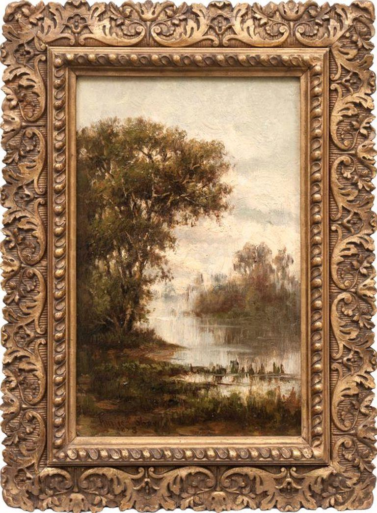 Pair of Hudson River Landscapes by Annie Cornelia Shaw (1852-1887, American) For Sale 4