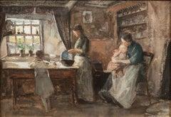 Family Scene, Isle of Man, c. 1889 by Julian Alden Weir (1852-1919, American)