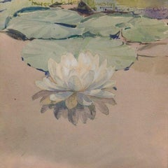 White Water Lily, 1912 Watercolor by George Walter Dawson (1870-1938, American)