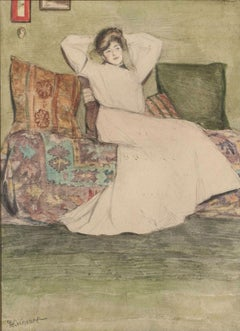 Woman in an Interior, Watercolor by Grace Cochrane Sanger (1885-1966, American)