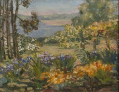 The Artist's Garden, Rye, NY by Agnes Louise Symmers (1882 – 1941, American)