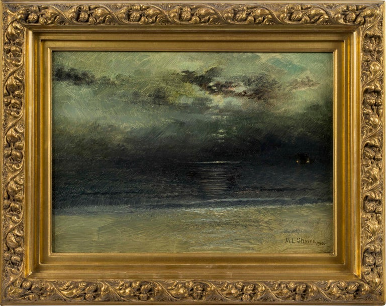 Dusk at Sea, Coastal Scene by Mary Lord Stevens (1833-1920, American) For Sale 1