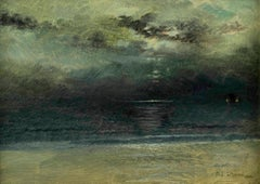 Dusk at Sea, Coastal Scene by Mary Lord Stevens (1833-1920, American)
