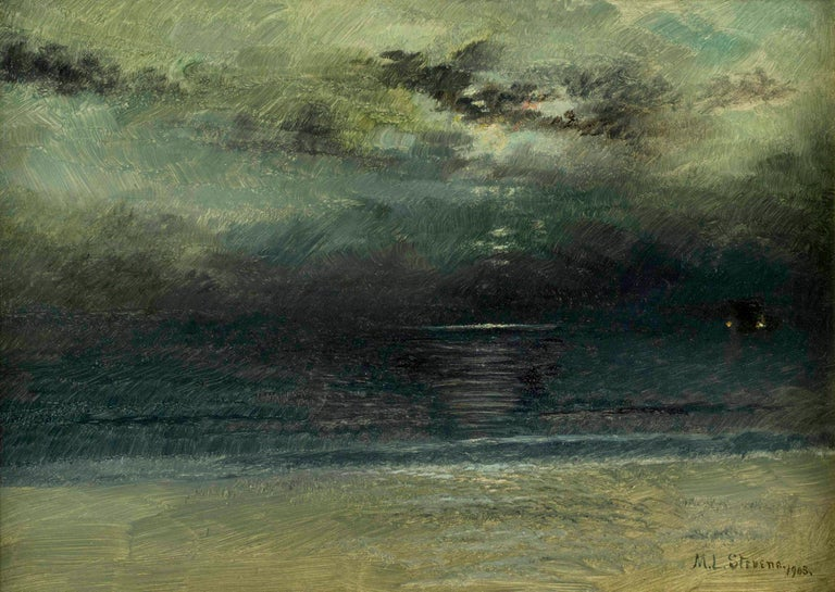 coastal scene at dusk, seascape painting by American artist Mary Lord Stevens  Mary Lord Stevens (1833-1920) Dusk at Sea Oil on paper mounted to board 10 x 14 inches Signed and dated 1903, lower right  Mary Lord Stevens was born in Batavia, New York