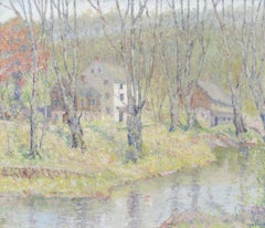 Houses by the River, Landscape by Thomas Linn Brown (1859-1916, American)