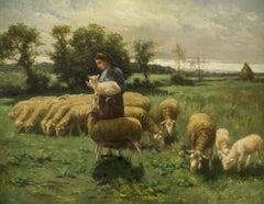 Shepherdess in a Field, 1899 by Elmer Ellsworth Garnsey (1862-1946, American)
