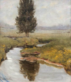 Autumn Brook, a Tonalist Landscape by Mary Pemberton Ginther (1869-1959, Amer.)