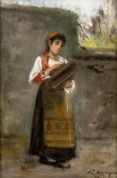 Young Lady with an Accordion, 1899 by Anna E. Klumpke (1856-1942, American)