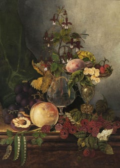 Still-Life with Fruit and Flowers by Mary Jane Peale (1827-1902, American)