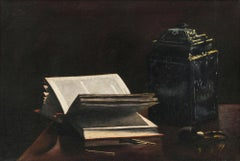 Still-life with Pipe, Books and Jar by Olga Sorensen (1877-1963, American)