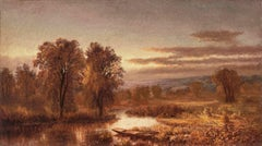 Autumn River with Punt in the Reeds by Mary Josephine Walters (1837-1883, Amer.)