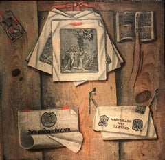 A Trompe l'oeil of documents and printed items on a wooden wall