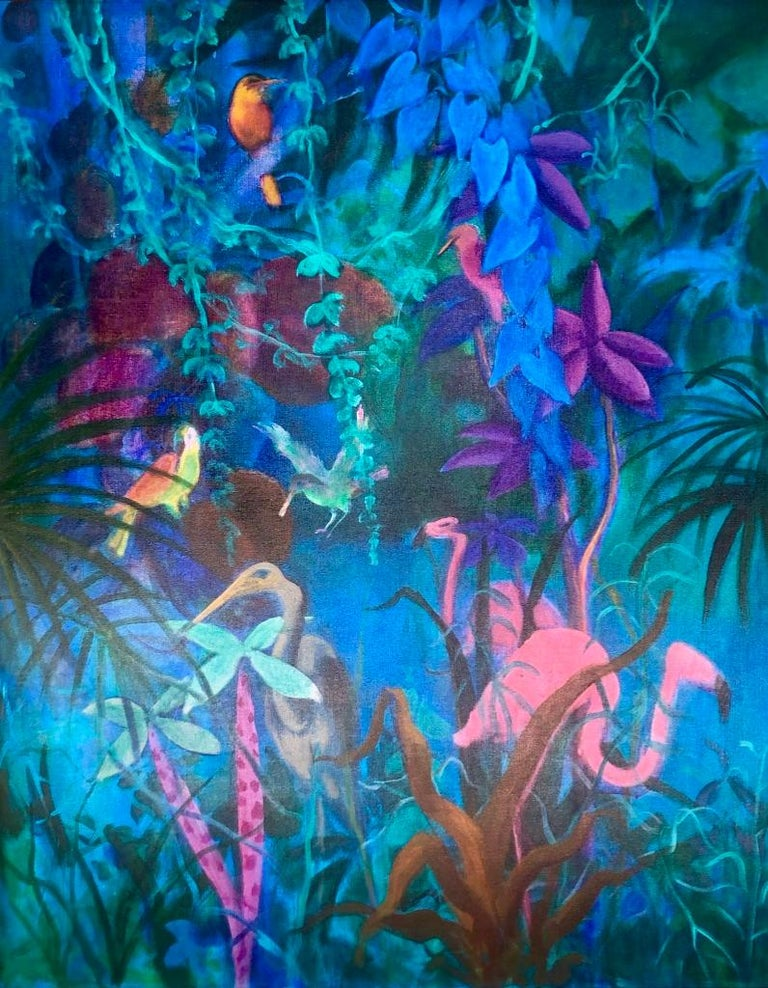 """Artist: Gustav Likan Title: Pond in the Jungle Size: 50"""" x 47"""" Medium: Acrylic on Canvas Framing: Framed Condition: Excellent"""