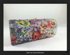 Swarovski Crystal Floral Print Barrel Minaudiere Evening Bag