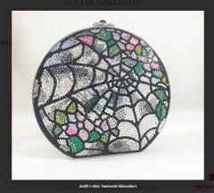 Swarovski Crystal Spider Web Canteen Minaudiere Evening Bag