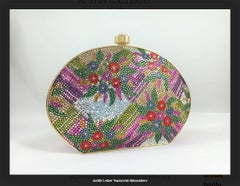 Swarovski Crystal Floral Print Oval Minaudiere Evening Bag