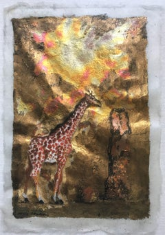 Kelly Fearing Giraffe and Rocks, Watercolor with Gold Leaf, 1971