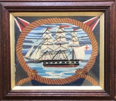 Rope Framed 19th Century Woolie featuring English Ship
